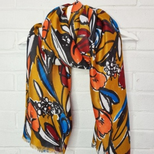 Abstract Flowers - Deep Mustard Scarf