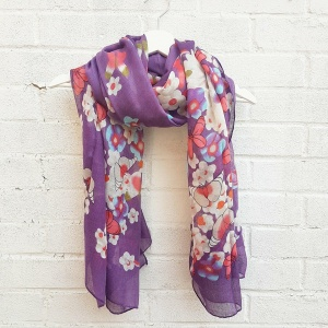 Butterflies & Flowers - Purple Scarf