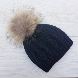 Cashmere Blend Cable Knit Pom Pom Hat - Black