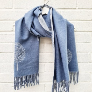 Cashmere Mix Mulberry Trees - Blue Scarf