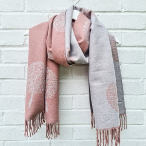 Cashmere Mix Mulberry Trees - Dusky Pink Scarf