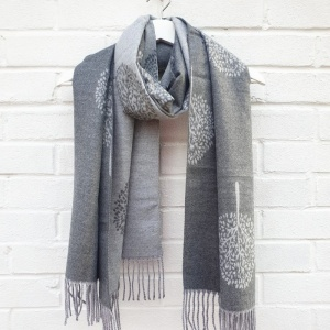 Cashmere Mix Mulberry Trees - Grey Scarf