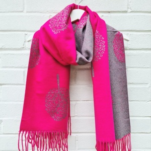 Cashmere Mix Mulberry Trees - Hot Pink Scarf