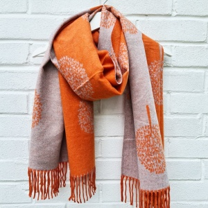 Cashmere Mix Mulberry Trees - Orange Scarf