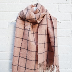 Checked Tassel - Pink Scarf