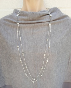 Diamante Circle Necklace - Silver
