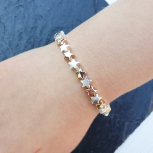Ditsy Star Friendship Bracelet - Silver & Rose Gold