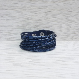 Double Wrap Bracelet - Navy