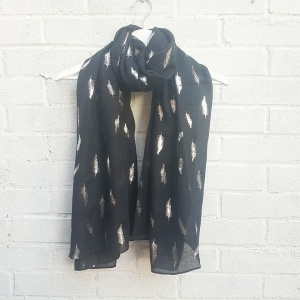 Silver Feathers - Black Scarf