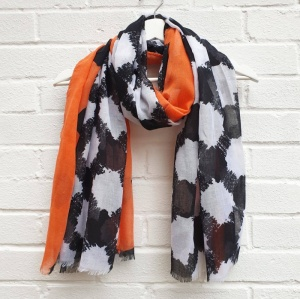 Geo Print - Black & Orange Scarf