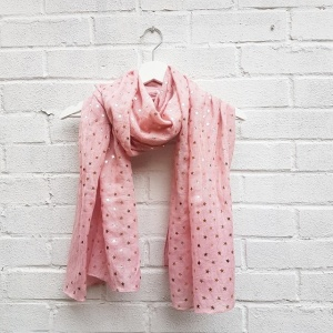 Gold Stars - Pink Scarf