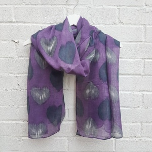 Hearts - Purple Scarf