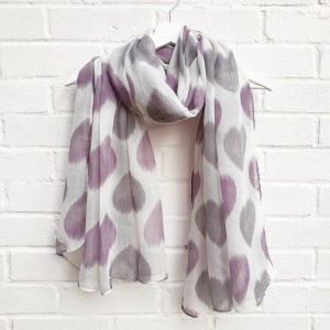 Hearts - White & Purple Scarf