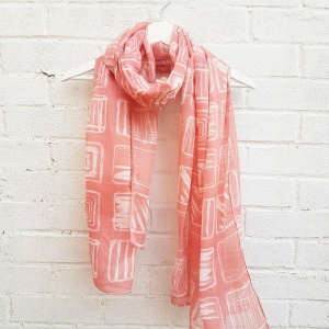 Ivory Squares - Peachy Scarf