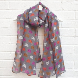 Kitty Cats - Grey Scarf