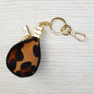 Leather Coin Purse Keyring - Leopard