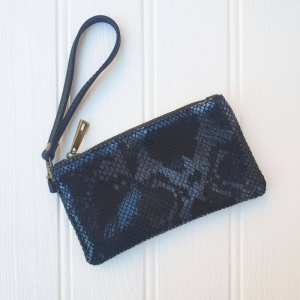 Leather Wristlet Purse - Black Snakeskin