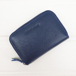 Leather Card Holder - Navy