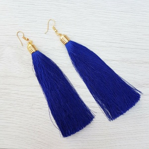 Long Tassel Drop Earrings - Blue