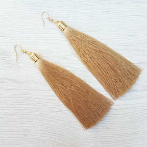 Long Tassel Drop Earrings - Gold