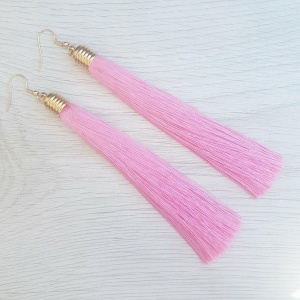 Long Tassel Drop Earrings - Pink
