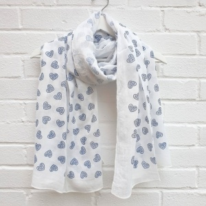 Love Hearts - White Scarf