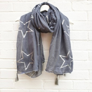 Metallic Stars - Grey Scarf