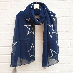 Metallic Stars - Navy Scarf