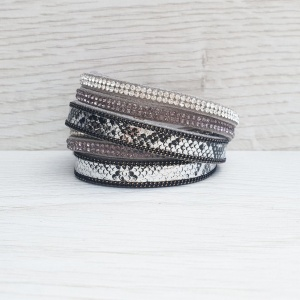 Metallic Wrap Bracelet - Grey