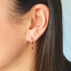 Mini Hoop Earrings - Gold Moon