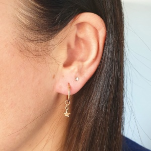 Mini Hoop Earrings - Gold Star