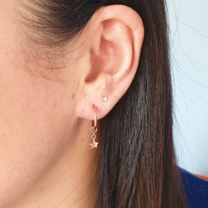 Mini Hoop Earrings - Rose Star