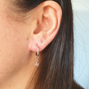 Mini Hoop Earrings - Silver Star