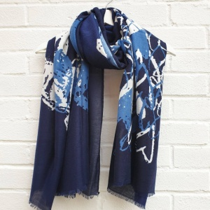 Painted Hearts - Navy Scarf