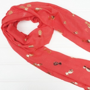 Shiny Pineapples - Coral Scarf