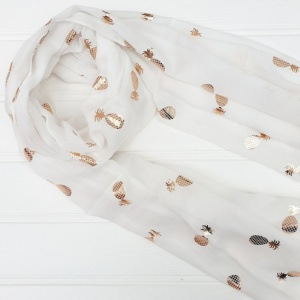 Shiny Pineapples - White Scarf