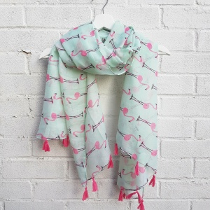 Pink Flamingos - Mint Scarf