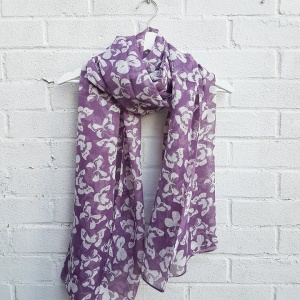Printed Butterflies - Purple Scarf