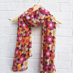 Retro Flowers - Black Scarf