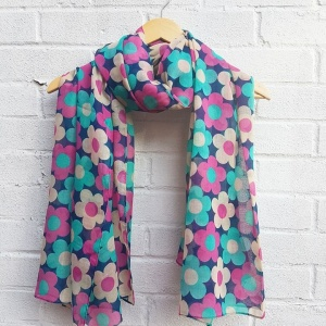 Retro Flowers - Navy Scarf