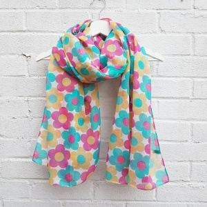 Retro Flowers - White Scarf