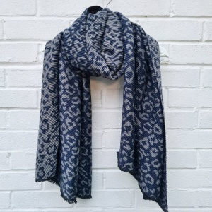 Reversible Leopard - Blue & Grey Scarf