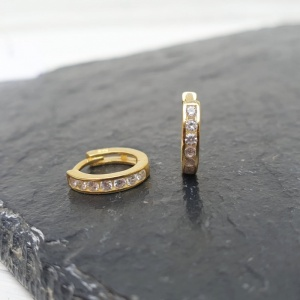 Sterling Silver Huggie Hoop Earrings - Diamante Gold