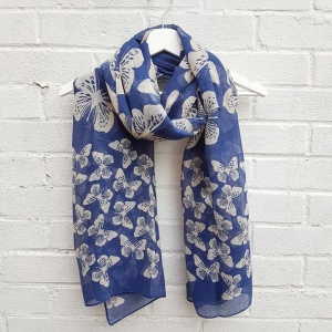 Scattered Butterflies - Blue Scarf