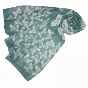Scattered Butterflies - Green Scarf
