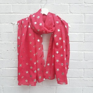 Silver Stars - Red Scarf