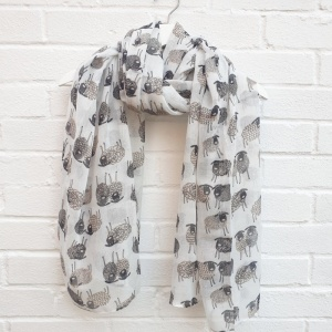 Sketched Sheep - White Scarf