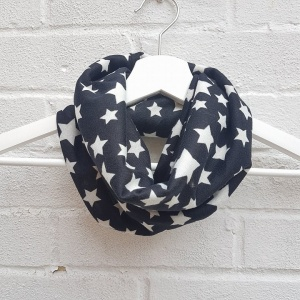 Girls Snood - Black & White Stars