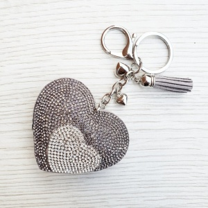 Sparkly Heart Keyring - Grey & Silver