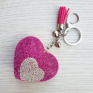 Sparkly Heart Keyring - Hot Pink & Silver